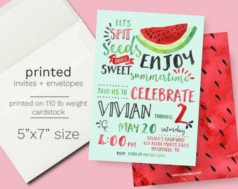 Watermelon Birthday Invitation - PRINTED One in a Melon Party Invite Summer Theme Birthday Party Melon Invite Fruit Birthday