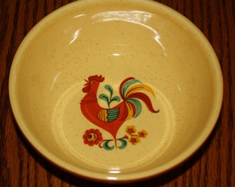 2 T.S &.T. Yellow  Bowls- with  Rooster - Mid Century