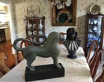 Huge vintage sphinx lion statue figure greek bust on wooden base