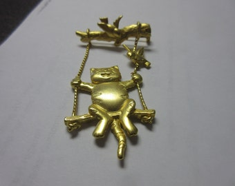 Cat On a Swing Pin Brooch Signed JJ