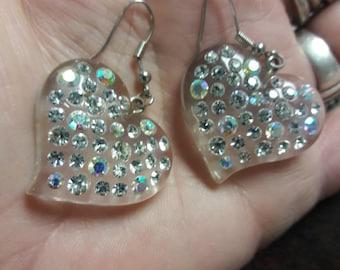 Lucite Aurora Borealis Heart Earrings