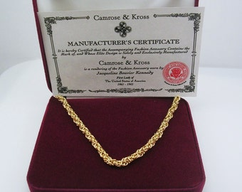 Jackie Kennedy GP Rope Necklace with Box and COA