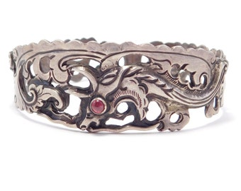 Old Ornate Silver Mythical Creature Bracelet