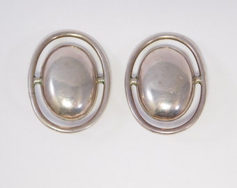 Modernist Silver Mexican Earrings Vintage Bold