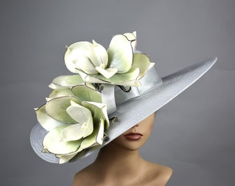 Silver Wedding Hat Woman Hat Church Kentucky Derby Hat Bridal Coctail Hat Couture Fascinator  Bridal Hat