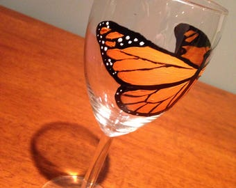 Monarch Butterfly Wine Glass