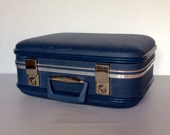 Vintage Travel Vanity Suitcase Carry On - 1950s - 60s Blue