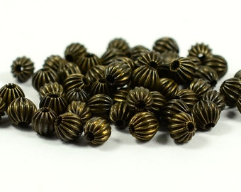 50 Pieces Antique Bronze 5 mm Round Bead Findings