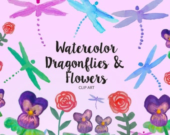 Dragonfly Watercolor Clip Art, Watercolor Flower Elements, Handpainted Loose Watercolor Dragonfly, Viola Clip Art, Watercolor Rose Clip Art