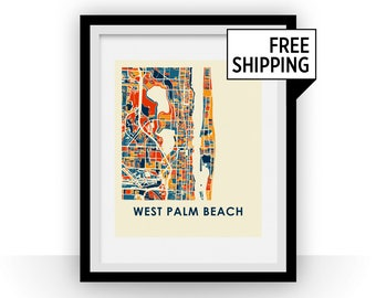 West Palm Beach Map Print - Full Color Map Poster