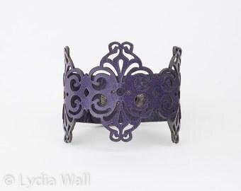 "Laser Cut Leather Bracelet ""Spirals"" in Turquoise , Purple or Black"