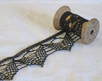 Black spider web crochet lace trim - over 4 meters of 2 inches wide vintage French lace trim