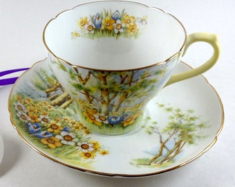 Shelley Daffodil Time Tea Cup and Saucer #13370/ 1940-1966 - with yellow handle/REDUCED