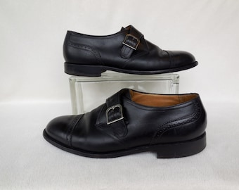 Mens DRESS Shoes/Mens Brogue/Mens Leather Shoe/Monk Strap Buckle/Mens Beatle Shoes/Slip Ons/FLORSHEIM IMPERIAL/60s Vintage Shoes/Size 10.5 E