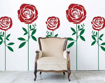 Roses 2-Color Decorative Flowers #2 Floral Wall Decals Graphic Vinyl Sticker Bedroom Living Room Wall Home Decor