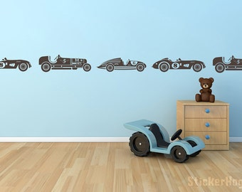 Vintage Race Cars Wall Decal for Boys Border or Childs Room Vinyl for Home Decor