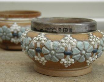 Two Doulton Lambeth Silicon Salts, Victorian Stoneware, 1900 Birmingham Silver, Stoneware Salts, Antique Salts, 8457, 8786, Marked ae,