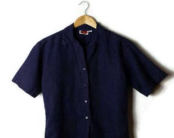 Vintage Plain Navy Pure Linen Short sleeve Blouse from 90's/Minimal*
