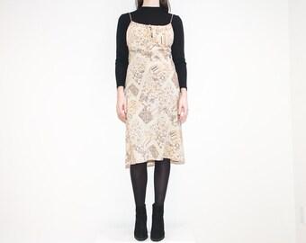 on sale - 90s beige floral patchwork midi dress / spaghetti strap knee length dress / size M