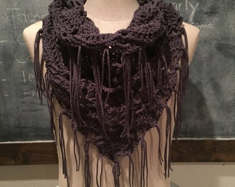 """Althea Scarf.  Infinity crocheted fringe scarf in """"charcoal"""" color.  Handmade."""