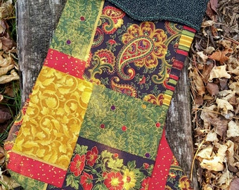 Christmas Stocking, Black Red and Gold  Stocking,  Stocking on Sale