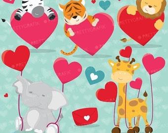 80% OFF SALE Valentine animals clipart commercial use, valentine vector graphics, digital clip art, digital images - CL630