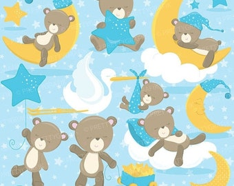 80% OFF SALE Baby boy bear clipart commercial use, baby bear vector graphics, digital clip art, digital images - CL772