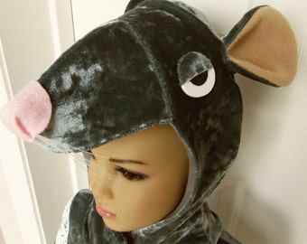 "Rat, Mouse King Costume, Child Size 21"" Chest (size 2) - 33"" Chest (Size 14) Stretch Velvet, Animals and Nature"