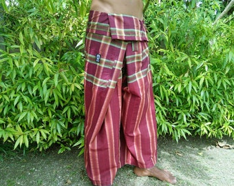 Burgundy, cotton, pelikat, boho, travellers, fisherman pants