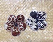 Authentic Polynesian Tapa Cloth Flower! CHOICE Of Clip Or Pick! Perfect For Beach Wedding Or Polynesian Events & For Girls Of All Ages!.
