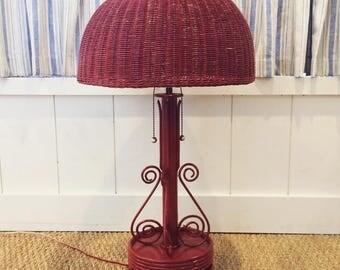 Red Wicker Lamp