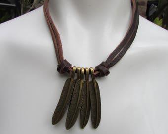 Leather and Feather Necklace Boho Hippie Ethnic Fun