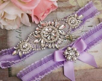 Lavender Wedding Garter Set, Bridal garter Set, Rhinestone Garter, Lavender Wedding Garter, Purple Garter, Lavender Organza garter