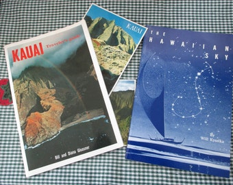 Vintage 1980's lot of books of Hawaii - The Hawaiian Sky and Kauai travel guide - and two postcards - Estate find!