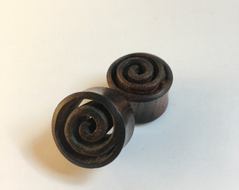 Areng Wood Spirals Tunnels, Wood Earrings- 19mm-3/4""