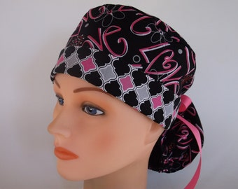 Love Ponytail - Womens lined surgical scrub cap, Nurse surgical scrub hat, 105/106+900b