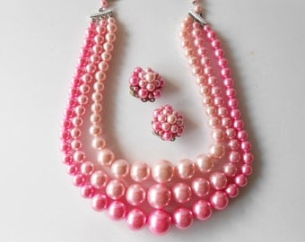 Pink Pearl Necklace, Triple Strand, Costume Jewelry, Vintage Necklace, Necklace Earrings, Pink Necklace, Clip On Earrings, Pink Jewelry