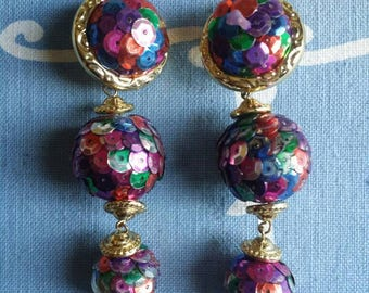Vintage 80's 3 Tier Disco Ball Multi Color Sequin Clip On Earrings