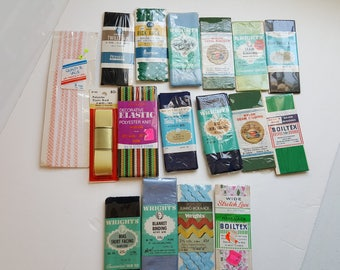 Lot of 16 Vintage Sewing Notions Seam Binding Hem Lace Skirt Facing Blanket Binding Decorative Elastic Unopened