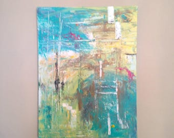 Original fine art, acrylic painting, comtemporary or abstract---Coming Home