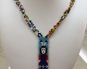Vintage Native American  Handmade Beaded Necklace!!