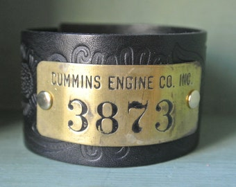 Cummins Leather Cuff, Tooled Black Leather, Old Brass Tag, Cummins Engine CO INC #3873, Steampunk, Unisex, One of a Kind By UPcycled Works