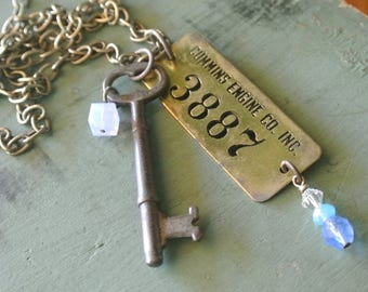 Cummins Engine Tag and Skeleton Key Necklace, Cummins Engine Co #3887, Authentic Key, UPcycled Repurposed, One of a Kind By UPcycled Works