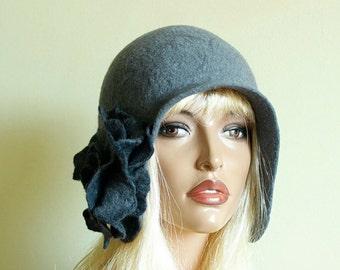 Dark Grey hat Dark Grey cap  Felted hat with brooch Nunofelt grey cap Great Gatsby hat