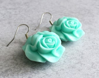 20% OFF: Mint Rose Earrings - Silver Plated French Hooks, Sea Foam Green, Light Teal, Lotus Flowers, Resin Cabochons, Bridesmaid Jewelry