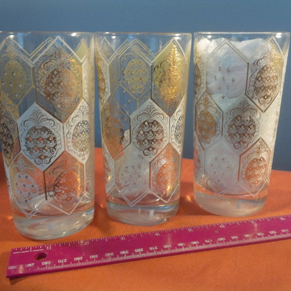 Vintage Mid Century Gold and White Tumblers, Set of 3 (JJ)