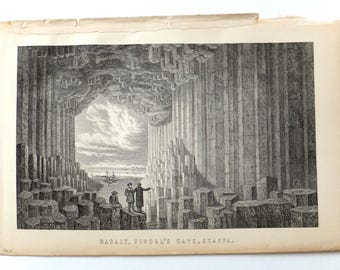 Fingal's Cave, Staffa Print, 19th century engraving, basalt, illustration of Scotland, Black and White Antique Print