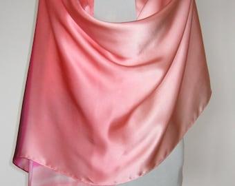 pure silk shawl wrap light salmon hand painted