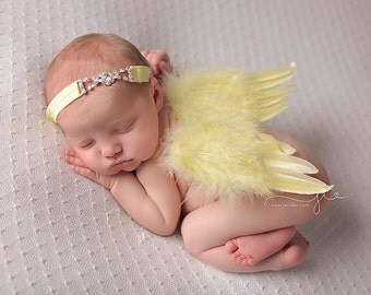 FREE Shipping! Newborn Photo Prop Angel Feather Wings, Newborn Baby Wings, Baby Girl Photo Prop, Boy Angel Wings, Yellow Wings