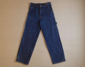 1990's, dark denim, wide leg, painter style, bootleg, Iceberg jeans, Men's size 30X30.5